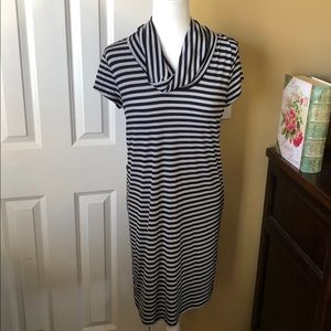 LOFT Outlet Womens Black and Gray Striped Dress
